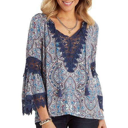 Democracy Womens Paisley Lace Trim Top