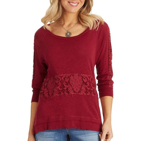Democracy Womens Lace Inset Asymmetrical Top