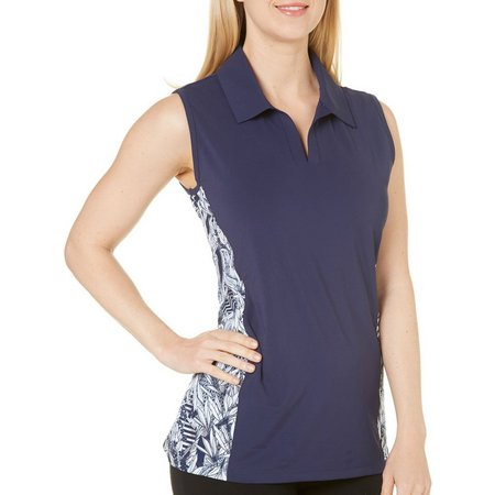 Coral Bay Golf Petite Floral Panel Polo Shirt