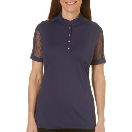 Coral Bay Golf Petite Mesh Sleeve Polo Shirt