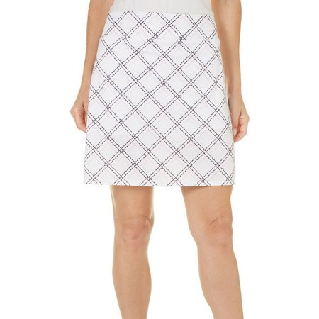 Coral Bay Golf Petite Preppy Plaid Printed Skort