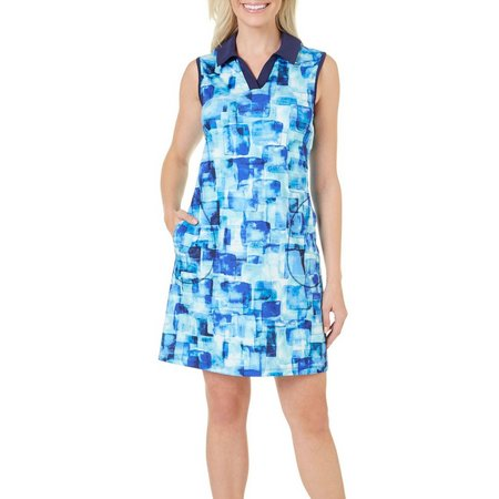 Coral Bay Golf Petite Sleeveless Watercolor Squares Dress