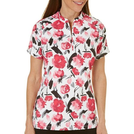 Coral Bay Golf Petite Blooms Printed Shirt