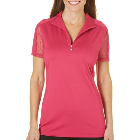 Coral Bay Golf Petite Lace Sleeve Zip Polo