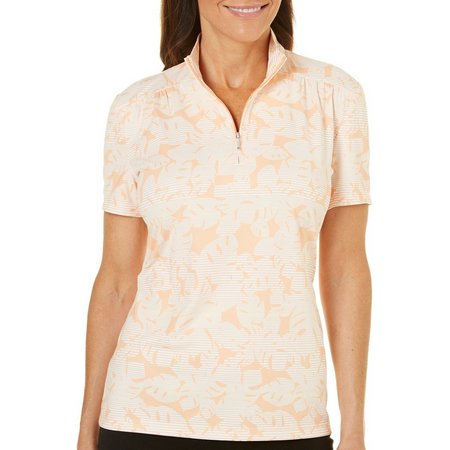 Coral Bay Golf Petite Stripe Abstract Ruched Shoulders