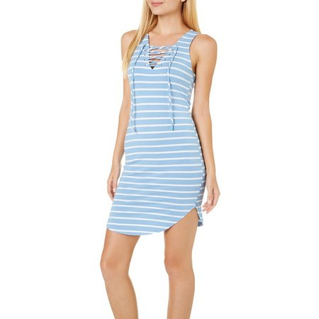 Heart & Hips Juniors Stripe Lace-Up Dress