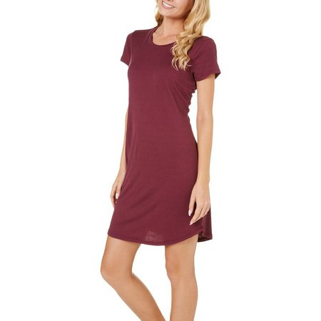 No Comment Juniors Ribbed Cupro T-Shirt Dress