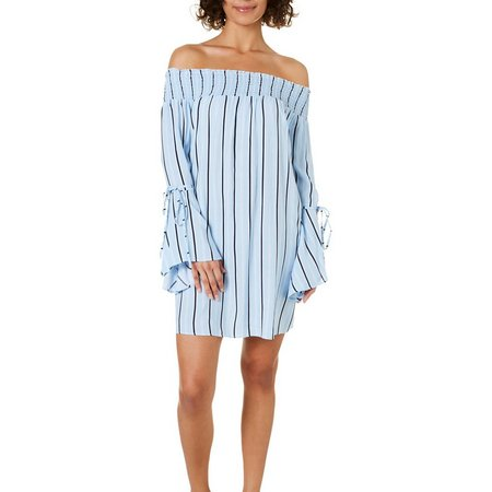 No Comment Juniors Striped Off The Shoulder Sundress