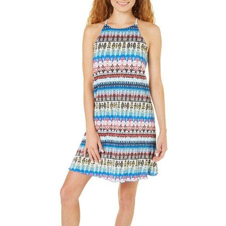 Derek Heart Juniors Ikat Print High Neck Dress