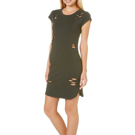 Derek Heart Juniors Destructed T-Shirt Dress