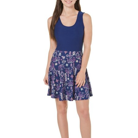 Derek Heart Juniors Elephant Print Tank Dress