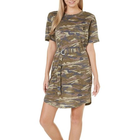 Derek Heart Juniors Camo Print T-Shirt Dress