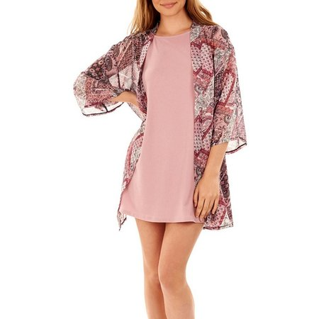 Wallflower Juniors Printed Kimono Jacket
