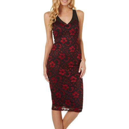 Almost Famous Juniors Floral Lace Midi Dress