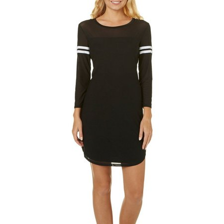 Almost Famous Juniors Mesh Varsity Stripe Sleeve Dress