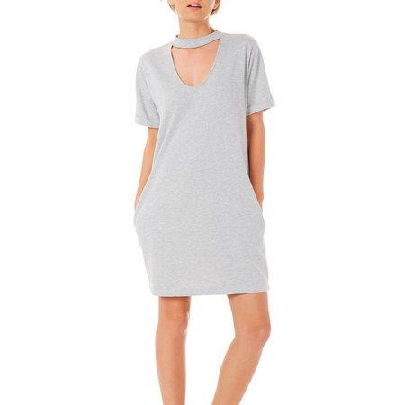 Almost Famous Juniors Short Sleeve Gigi Neck Dress