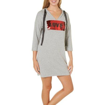 Almost Famous Juniors Love Sweatshirt Dress