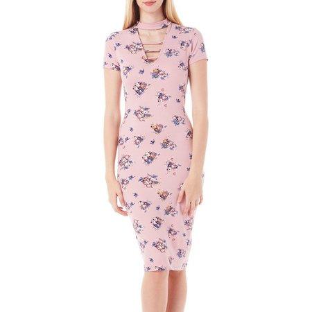 Almost Famous Juniors Floral Gigi Neck Dress