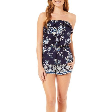 Angie Juniors Floral Print Ruffled Popover Romper