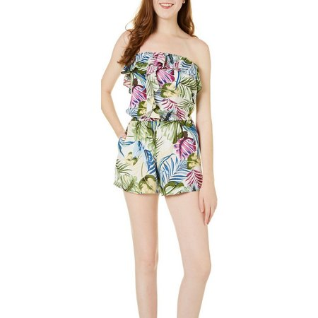 Angie Juniors Floral Ruffle Popver Strapless Romper