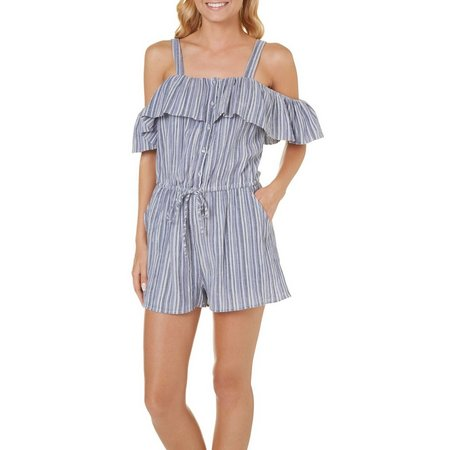 Angie Juniors Cold Shoulder Stripe Romper