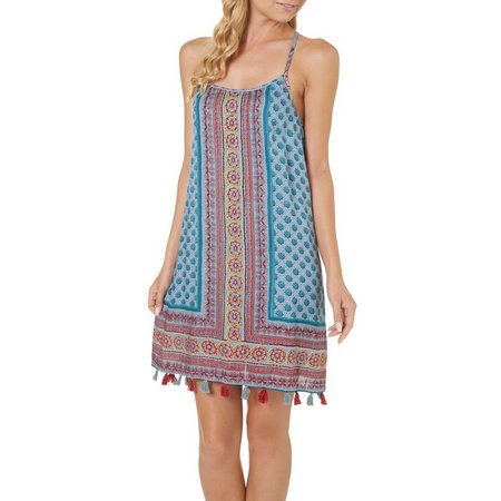 Angie Juniors Scarf Print Tassle Hem Dress
