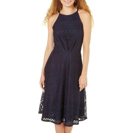 Bailey Blue Juniors High Neck Crochet Lace Dress