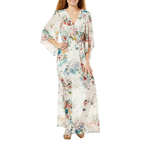 Bailey Blue Juniors Floral Print Kimono Maxi Dress