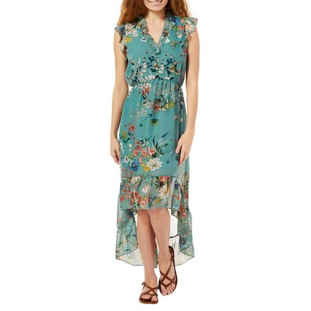 Bailey Blue Juniors Floral Print High-Low Maxi Dress