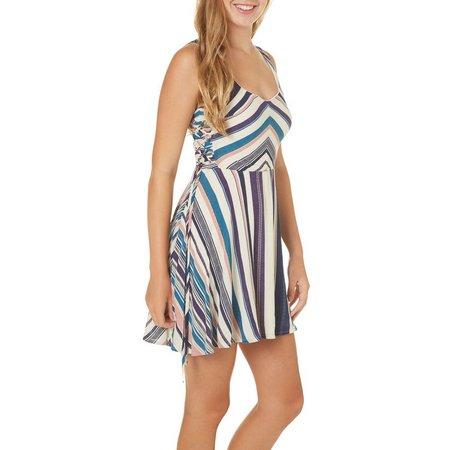 Bailey Blue Juniors Stripe Side Lace Up Dress