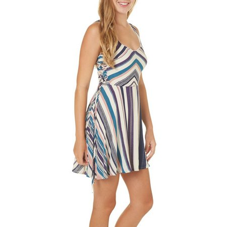 Bailey Blue Juniors Stripe Side Lace Up Dress