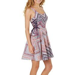 Bailey Blue Juniors Printed Side Tie Poplin Dress