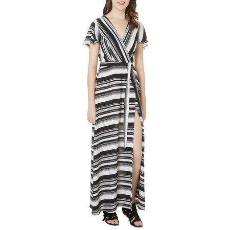 Bailey Blue Juniors Striped Wrap Maxi Dress