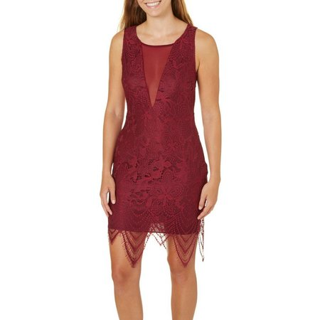 Bailey Blue Juniors Crochet Lace Plunged Dress