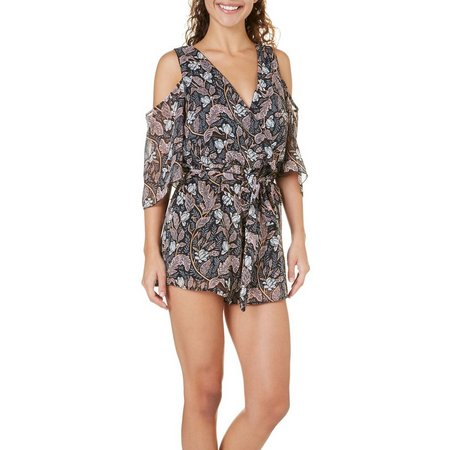Bailey Blue Juniors Floral Cold Shoulder Romper