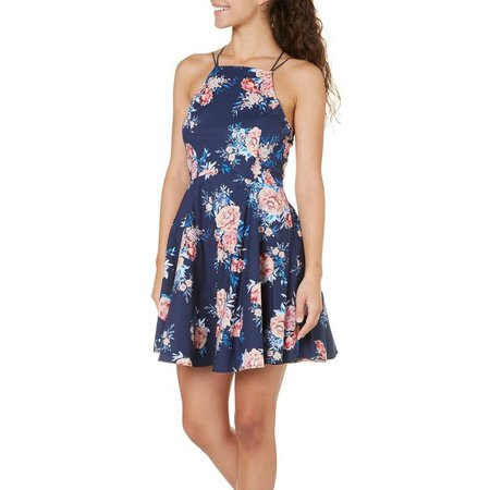 Bailey Blue Juniors Floral Print High Neck Dress