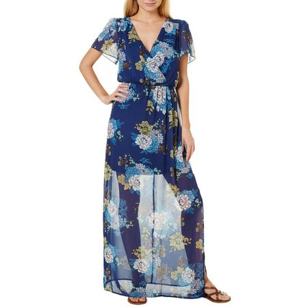Bailey Blue Juniors Floral Faux-Wrap Maxi Dress