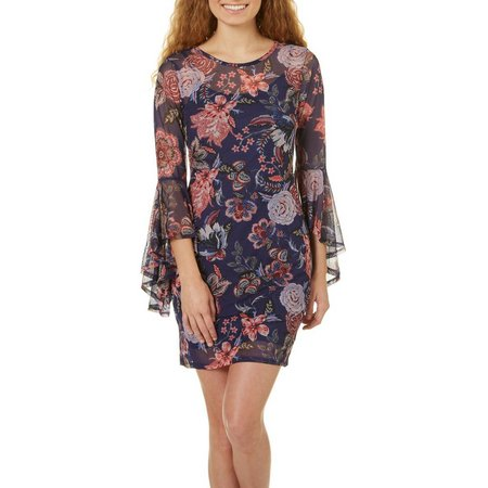 Bailey Blue Juniors Floral Mesh Flare Sleeve Dress
