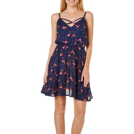 Bailey Blue Juniors Flamingo Print Dress