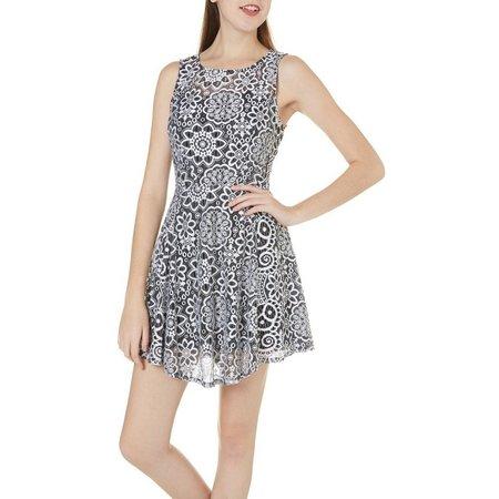 Be Bop Juniors Silkscreen Lace Skater Dress