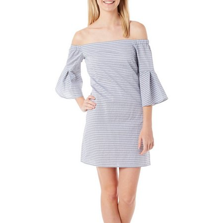 Be Bop Juniors Stripe Off The Shoulder Dress