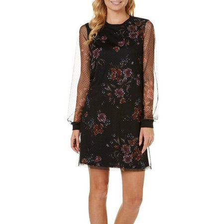 Be Bop Juniors Floral Print Mesh Dot Dress