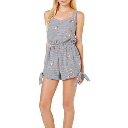 Be Bop Juniors Embroidered Gingham Side Tie Romper