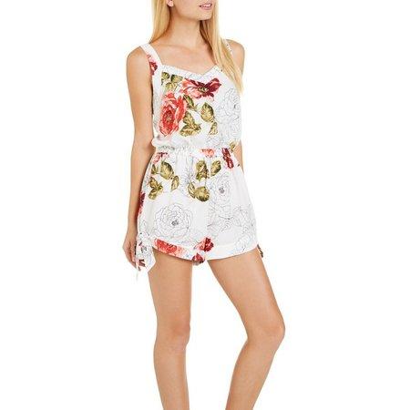 Be Bop Juniors Floral Print Side Tie Romper