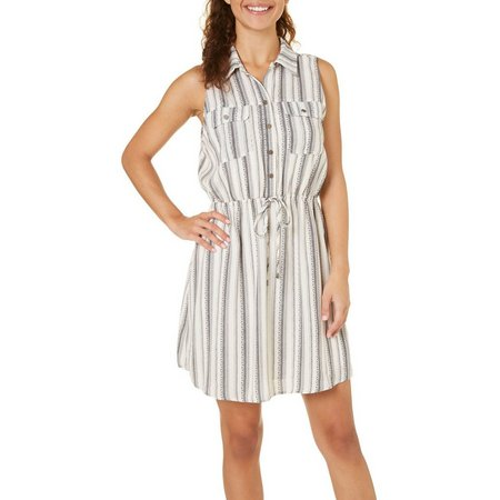 Be Bop Juniors Stripe Tie Waist Shirtdress