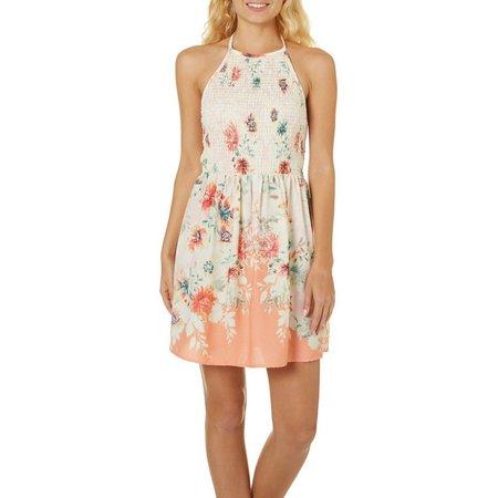 Be Bop Juniors Floral Print Smocked Halter Dress