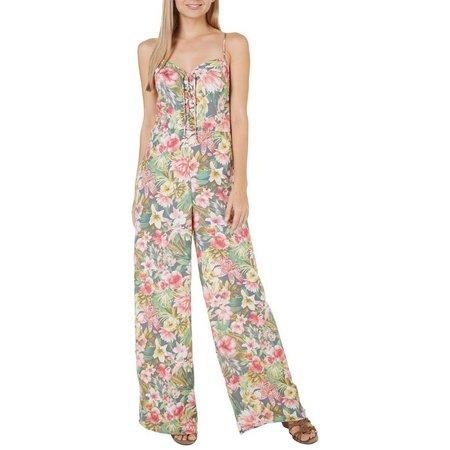 Be Bop Juniors Tropical Floral Lace-Up Jumpsuit