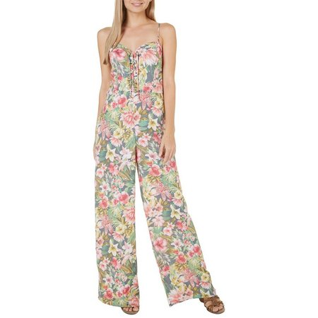 Be Bop Juniors Tropical Floral Lace-Up Jumpsuit