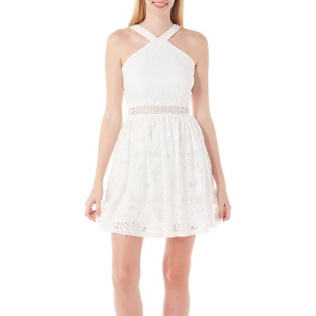 A. Byer Juniors Halter Lace Fit and Flare