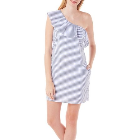 A. Byer Juniors Stipe One Shoulder Ruffle Dress